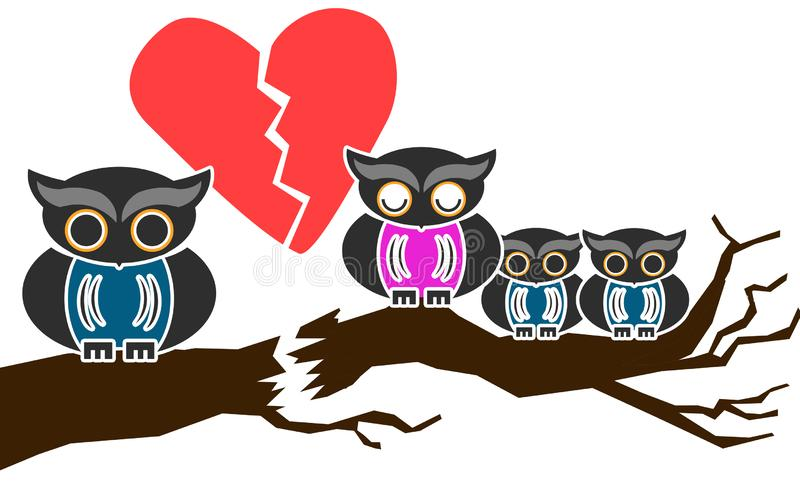 Owl Family Divorce con los niños libre illustration