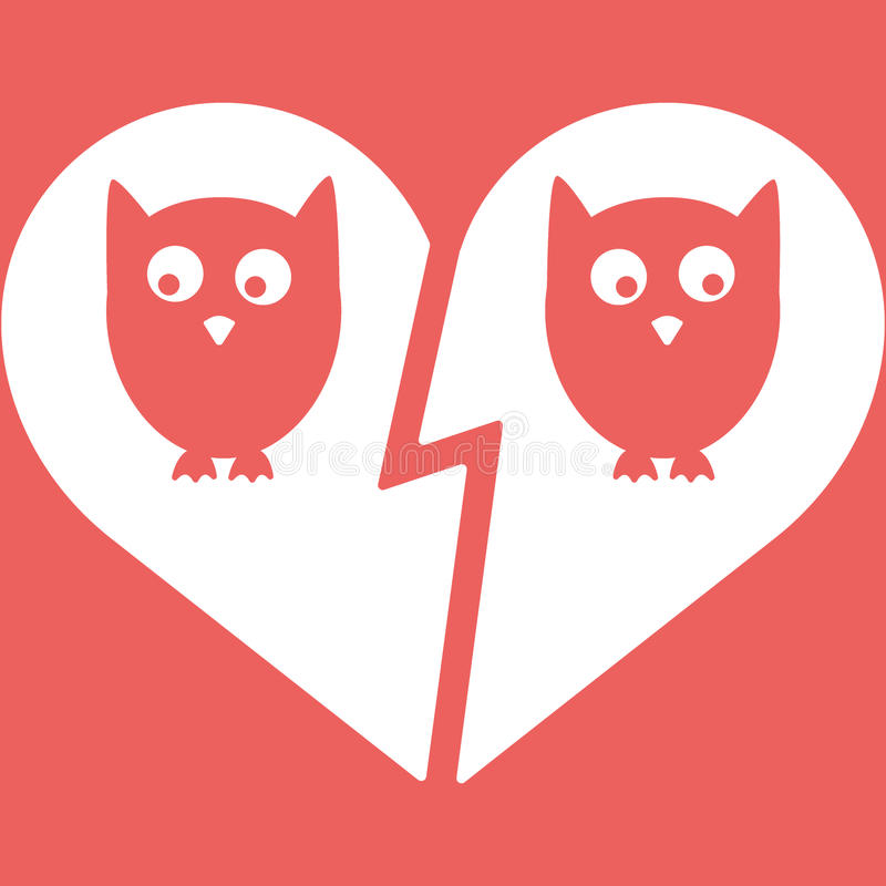 Owl Family Divorce Icon stock de ilustración