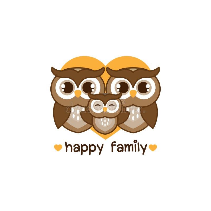 Owl Family feliz Mamã do paizinho e desenhos animados da coruja do bebê com coração ilustração do vetor