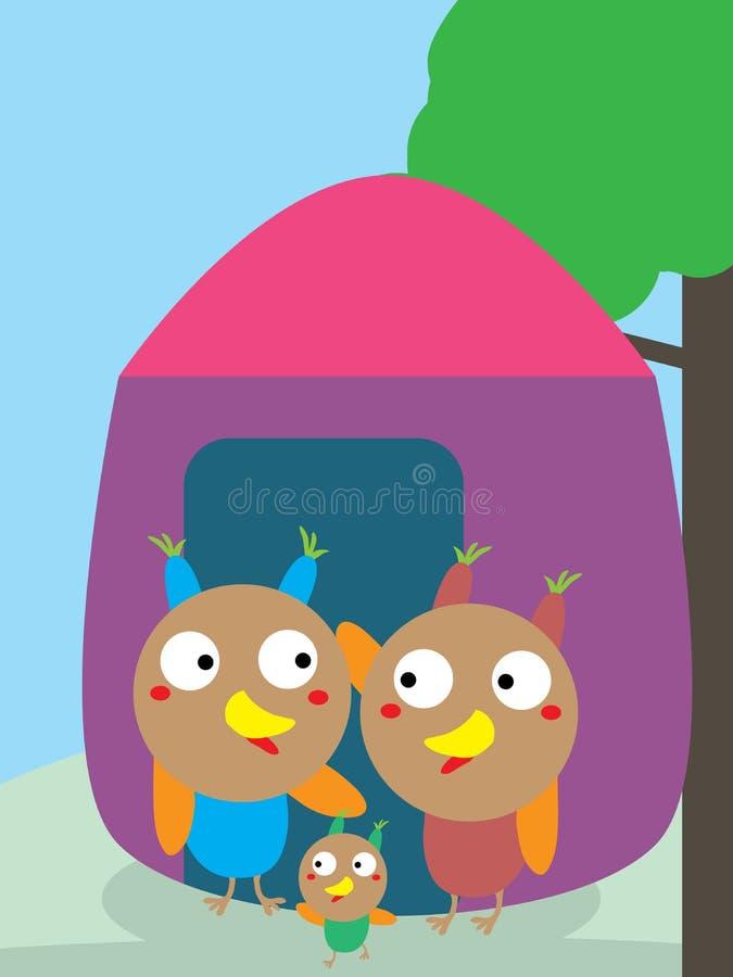 Owl Family Home illustrazione di stock