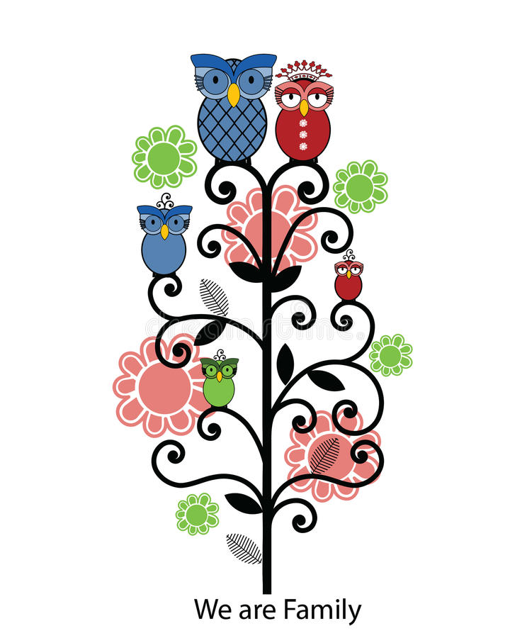 Owl family tree. Family tree with owls - Mother has removable crown stock illustration