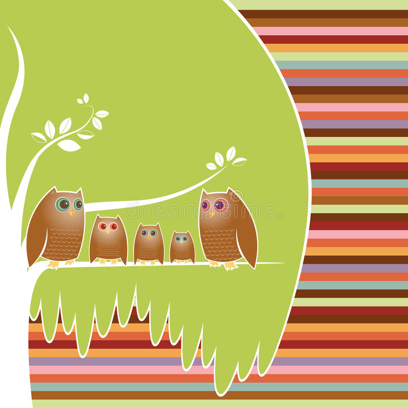 Owl Family Tree. Family of five owls perched in their cozy tree, a colorful striped background