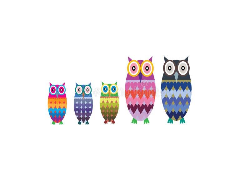 Owl Family Vector royalty-vrije stock foto's