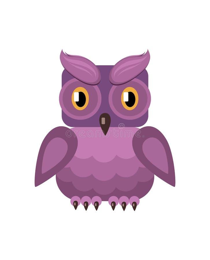 Owl Filin met lilac gevederte en gele ogen royalty-vrije illustratie
