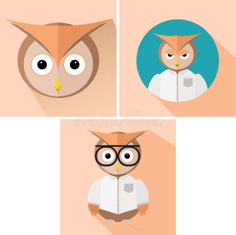 Owl Flat Design royaltyfri fotografi
