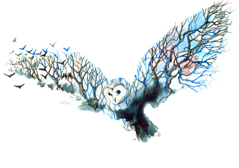 Owl. Forest silhouettes of flying birds