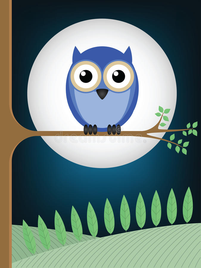Owl full moon. Owl sat on a tree branch against a full moon royalty free illustration