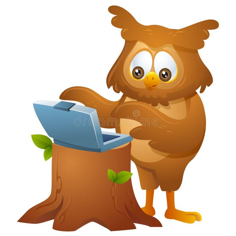 Owl - fungera en bärbar dator royaltyfri illustrationer