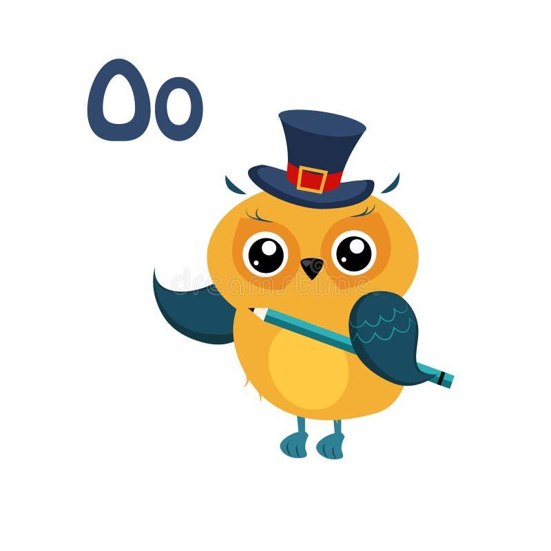 Owl. Funny Alphabet, Animal Vector Illustration. Owl. Funny Alphabet, Colourful Animal Vector Illustration stock illustration