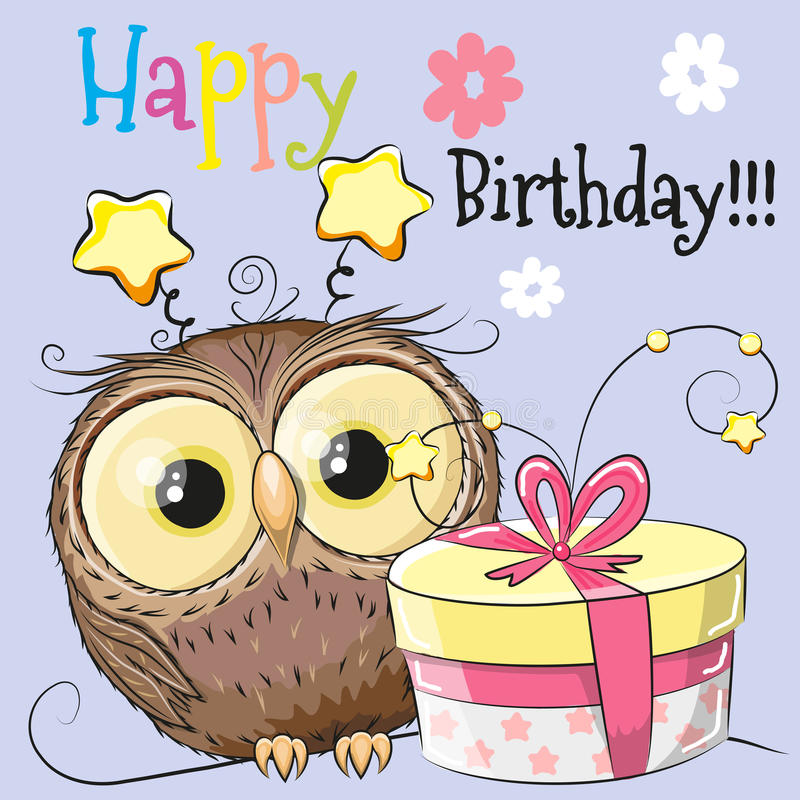 Owl With Gift Stock Vector. Image Of Cartoons, Cute, Card