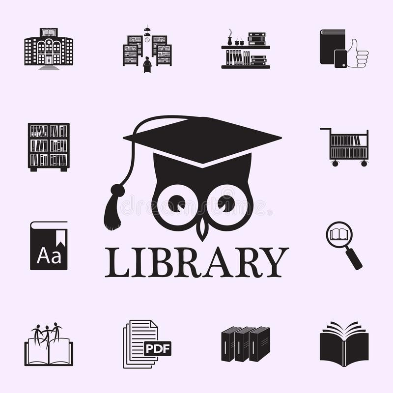 Owl And Graduate Cap Illustration  Element Of Library Icon
