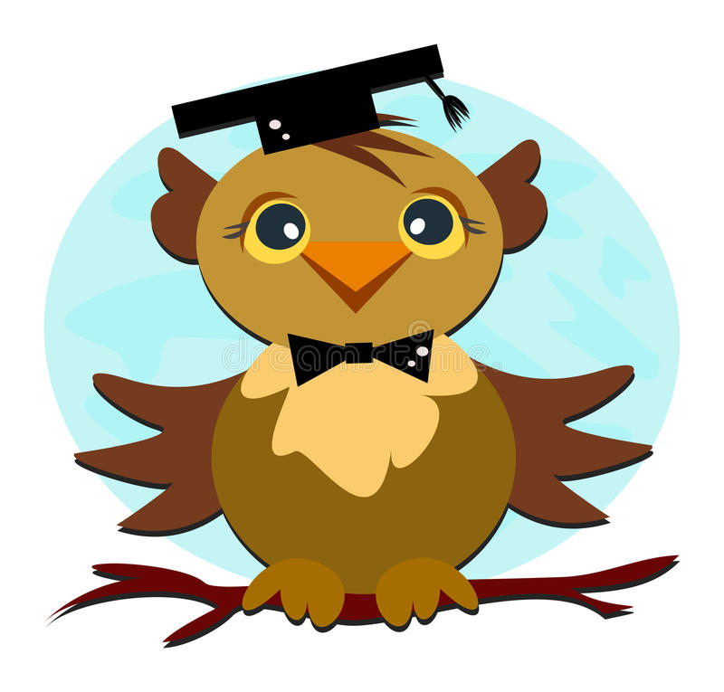 Download Owl Graduation stock vector. Illustration of branch, bird - 19726075