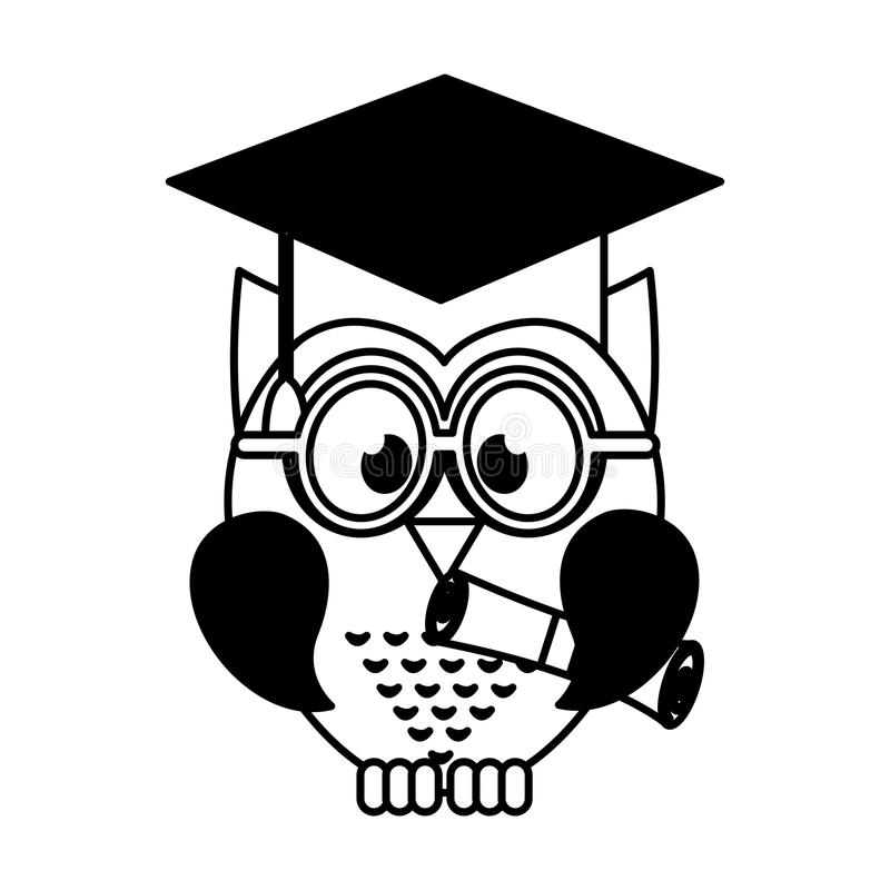 Owl with graduation hat stock vector. Illustration of ...