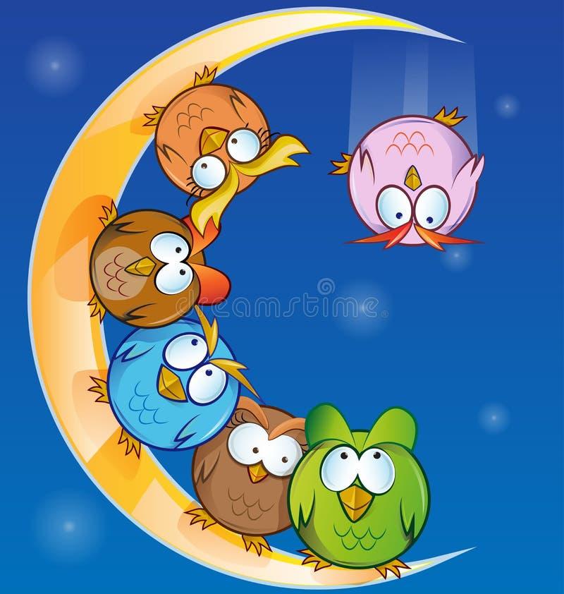 Owl group cartoon stock illustration