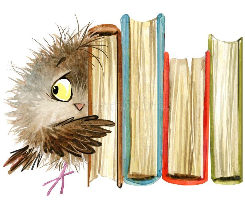 owl gullig owl vattenfärgskogfågel skolbokillustration Tecknad filmfågel stock illustrationer