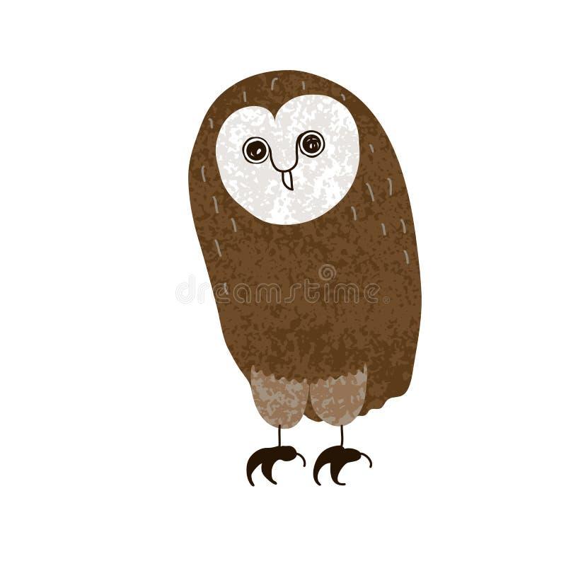 owl Gulligt tecknad filmtecken som hand-dras, grunge som textureras vektor illustrationer