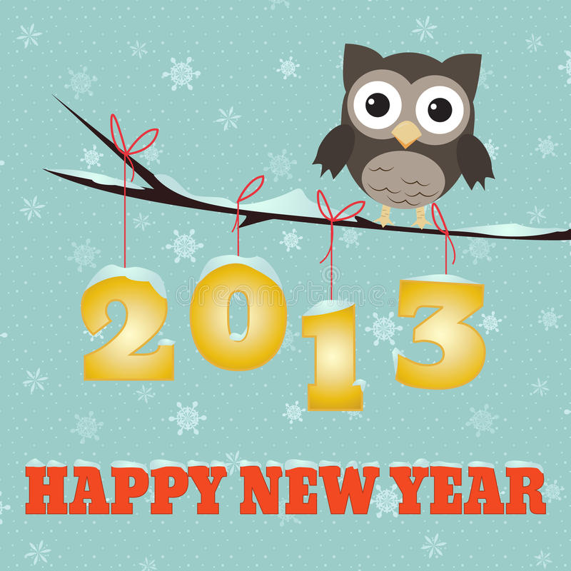 Download Owl Happy new year 2013 stock vector. Illustration of background - 26354116