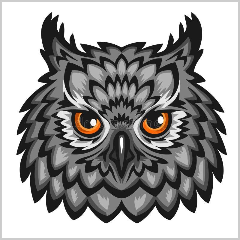Owl Head - no branco ilustração royalty free