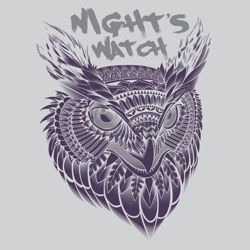 Owl Head Portrait Illustration photographie stock libre de droits