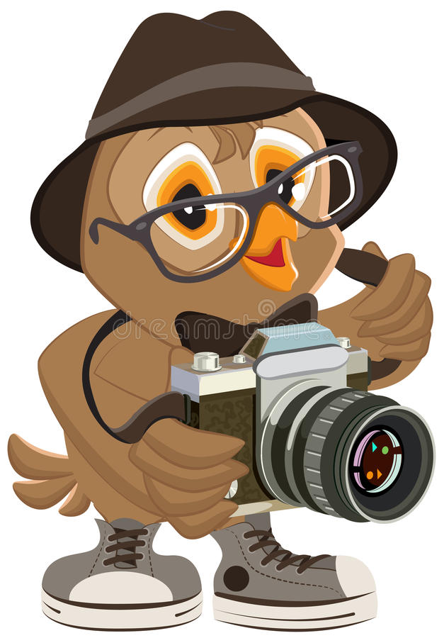 Owl hipster in hat and sunglasses holding retro camera. Bird photographer. Illustration in vector format vector illustration