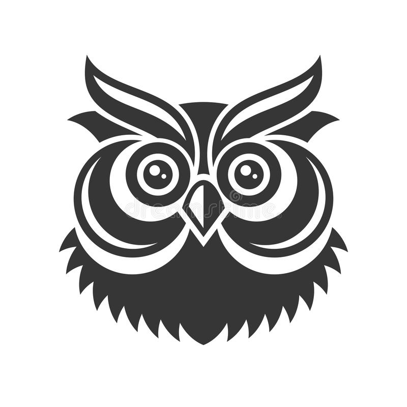 Owl. Hipster Simple Style Logo on White Background. Vector stock illustration