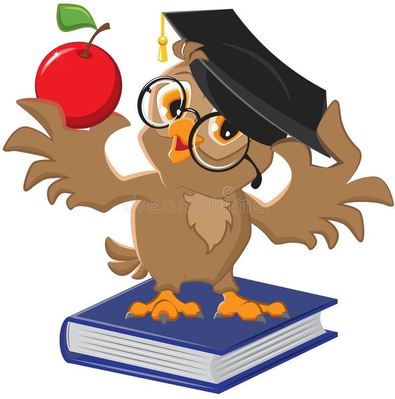 Owl holding an apple stock illustration