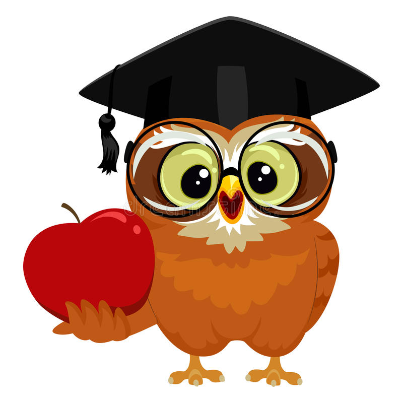 Owl holding an Apple. Vector Illustration of an Owl holding an Apple stock illustration