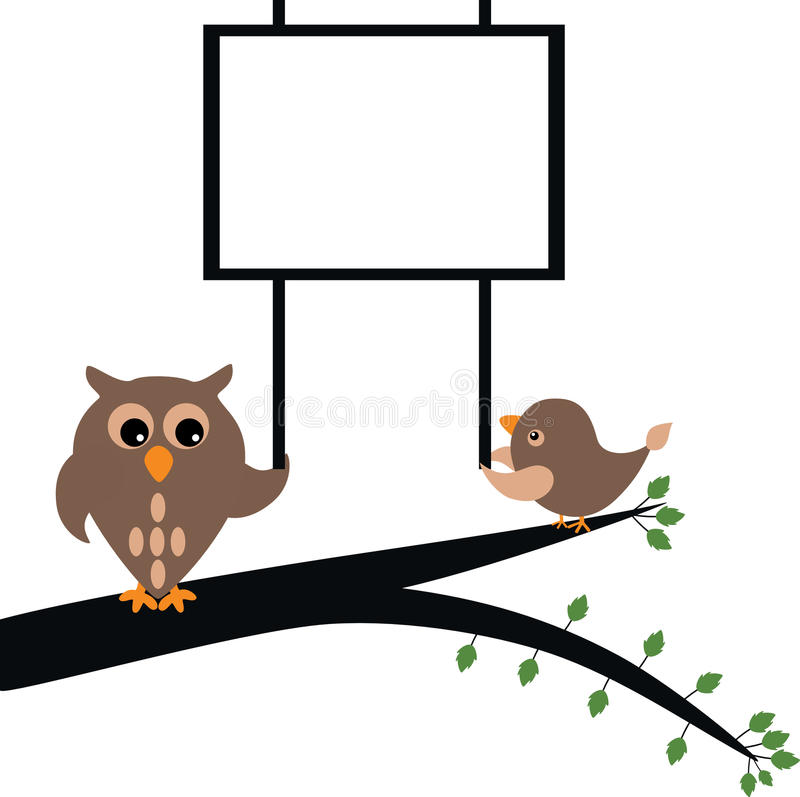 Owl holding banner stock illustration