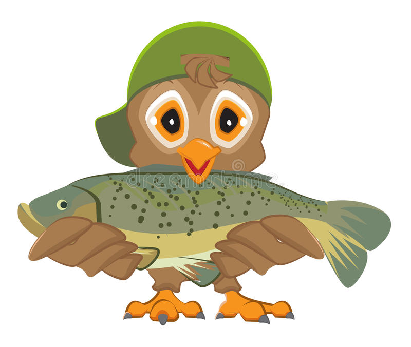 Owl holding fish. Fisherman with catch. Isolated on white vector cartoon illustration stock illustration