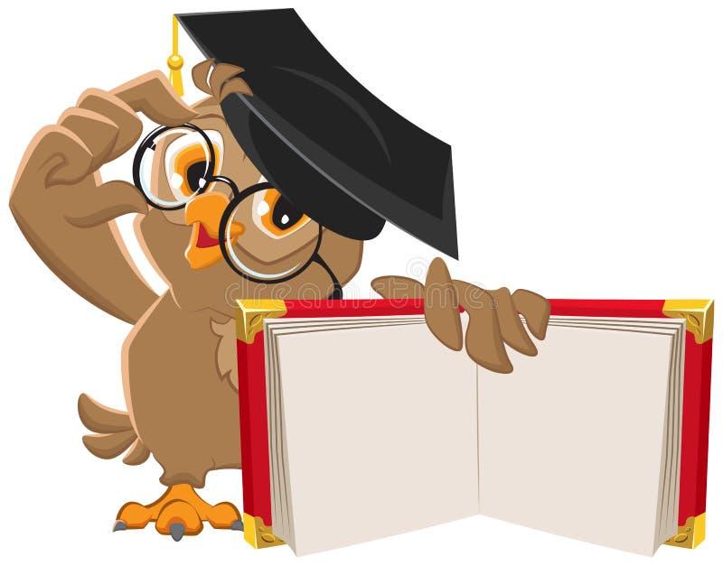 Owl holding open book stock illustration