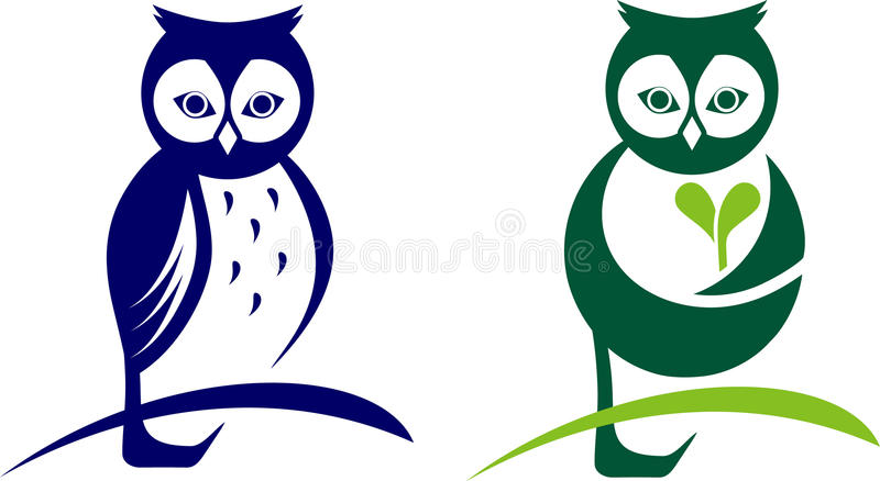 Owl icon. Vector illustration depicting two types of owls royalty free illustration