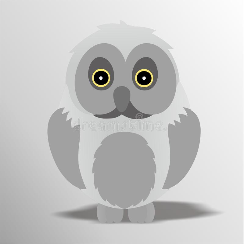 Owl Icon, Cute Cartoon Funny Character with Gray Color – Flat Design stock illustration