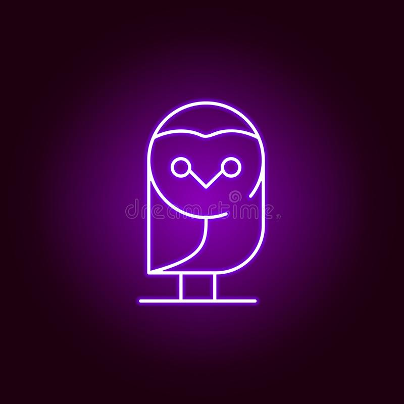 owl icon in neon style. Element of Halloween illustration. Signs and symbols collection icon for websites, web design, mobile app royalty free illustration