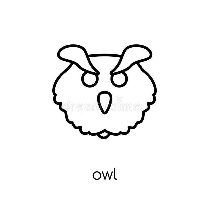 Owl icon. Trendy modern flat linear vector Owl icon on white background from thin line animals collection stock illustration