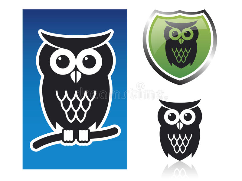 Owl Icons. Simple Owl icons/symbols ideal for incorporating into a logo drawn in Illustrator