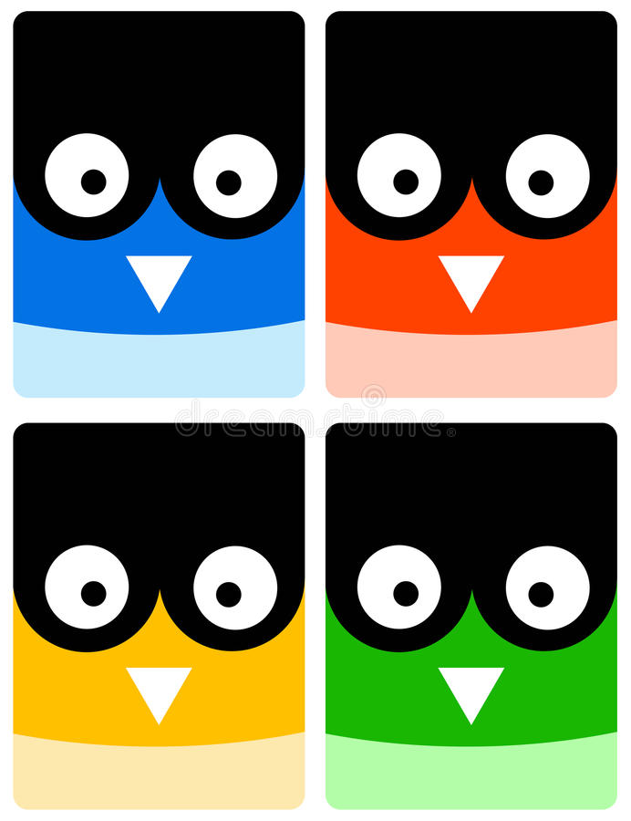 Owl icons. Colorful icons of owls (concept for wisdom or education royalty free illustration
