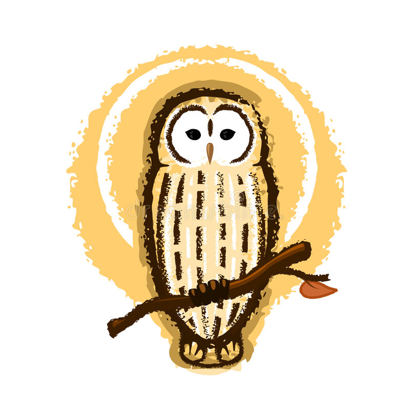 Owl Illustration barrado ilustración del vector