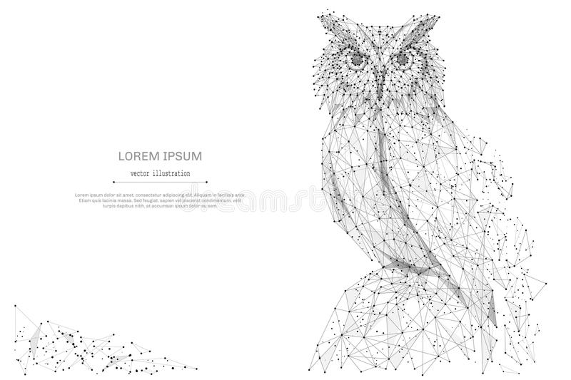 Owl low poly gray. Owl isolated from low poly wireframe on white background. Wild bird of prey. Vector abstract polygonal image mash line and point hands collect stock illustration