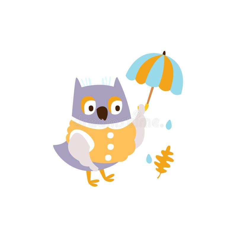Owl In Jacket With Umbrella sotto pioggia nell'illustrazione del carattere di Autumn Standing Upright Humanized Animal in funky royalty illustrazione gratis