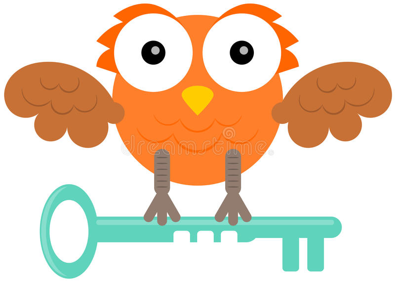 Owl with key. A cartoon illustration of an owl holding a key vector illustration