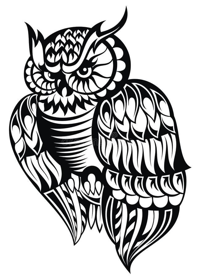 owl kontrollera designbilden min liknande tatuering för portföljen stock illustrationer