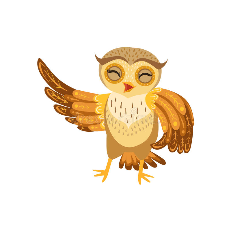 Owl Laughing Cute Cartoon Character Emoji con Forest Bird Showing Human Emotions e comportamento illustrazione di stock