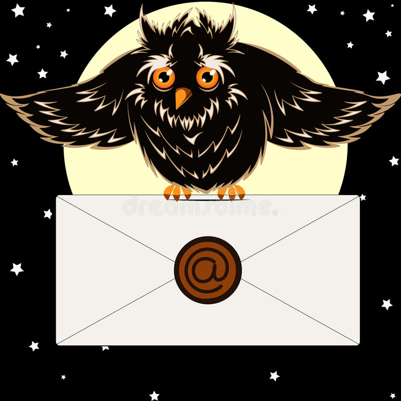 Owl with the letter. Postal owl flies with letter in the night sky - vector illustration vector illustration