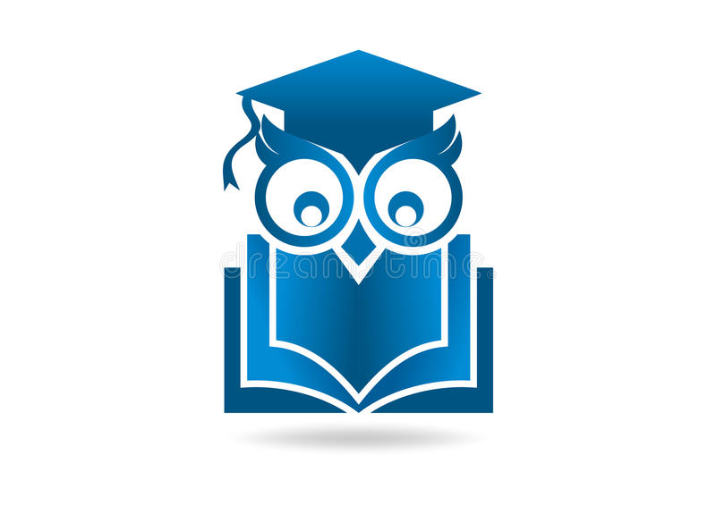 Owl logo. Abstract owl head with book vector logo design template