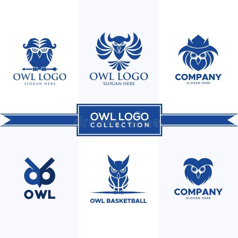 Owl logo collection vector design stock illustration