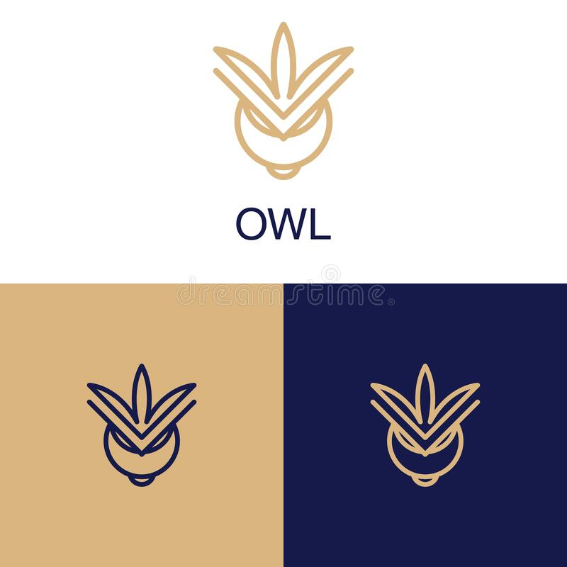 Owl logo in the modern linear style, copper stroke. owl logo of lines. Owl logo with curls. Vector Design royalty free stock images