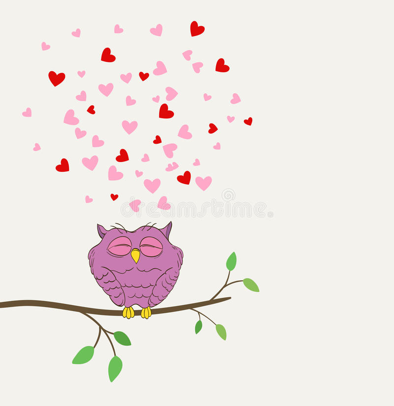 Owl in love dreaming. Cute owl in love dreaming with hearts on a twig royalty free illustration