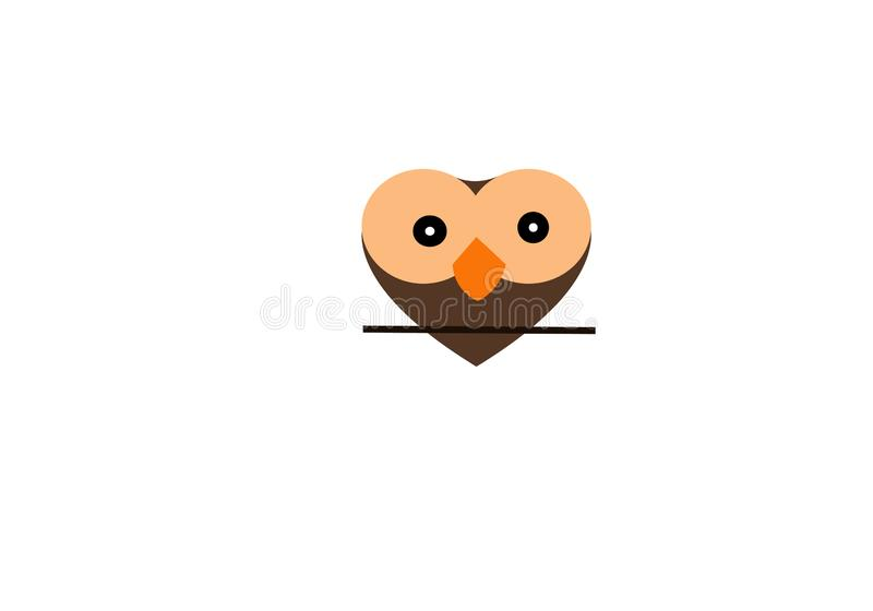 Owl Love Logo Template, illustration de couleur fraîche illustration stock