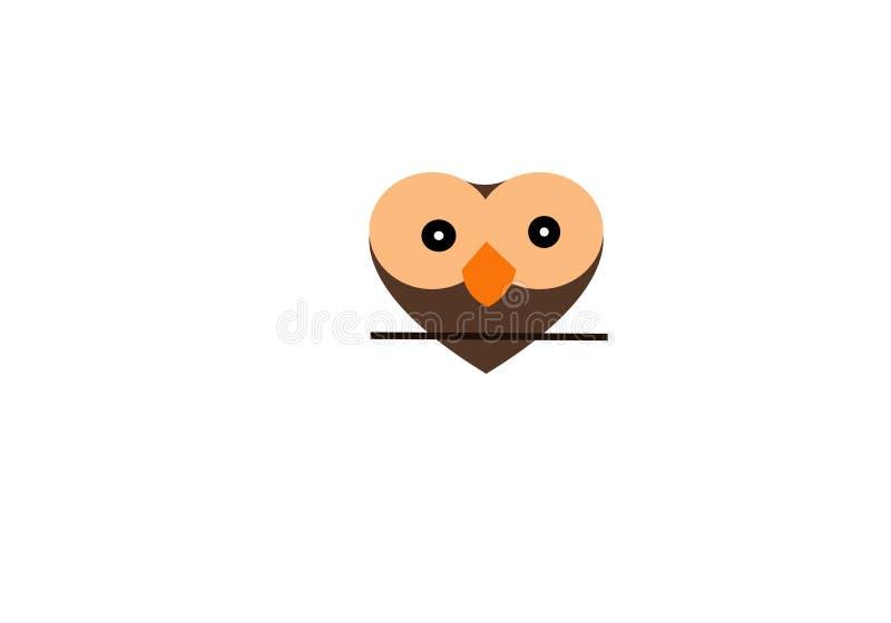 Owl Love Logo Template, koele kleurenillustratie stock illustratie