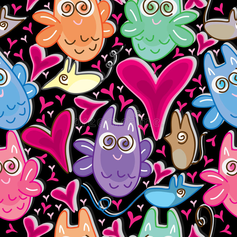 Owl Love Mouse Seamless Pattern_eps vector illustration